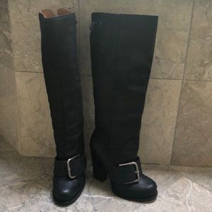 Black boots with a block 4 inch heel big buckle